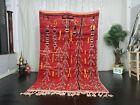 "Moroccan Vintage Boujaad Handmade Rug 5'1""x8'1"" Abstract Red Berber Wool Carpet"