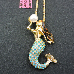 Betsey Johnson Blue Crystal Cute Pearl Mermaid Pendant Necklace Sweater Chain