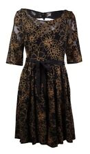 Plenty by Tracy Reese Women's 'Estella' Belted Sequined Lace Dress (10, Black)