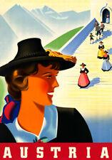"Vintage Illustrated Travel Poster CANVAS PRINT Austria 24""x16"""