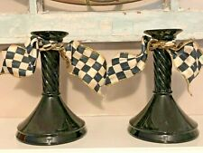 Vintage Twisted Black Glass Candle Holder Pair Sticks Mackenzie Childs Ribbon