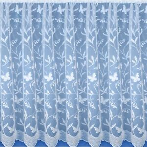 Butterfly & Floral Modern White Value Cheap Net Window Curtain Sold By The Metre