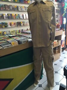 ARMY STYLE SAND COLOUR JACKET & TROUSER SUIT REGGAE RASTA ROOTS CULTURE