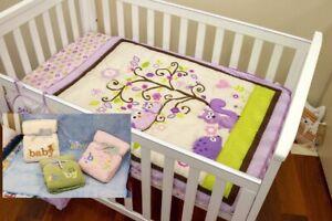 Quilt Comforter Set Baby Bedspread Purple Owl Embroidered Bonus 1 Baby Blanket