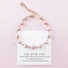 Pink & white enamel greek turkish evil eye protection charm bracelet / anklet