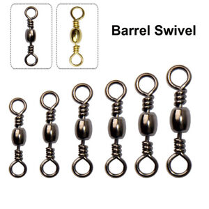 100Pcs Fishing Barrel Rolling Swivel Tackle Accessories Connector Tool 10#-6/0#