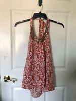 ELLE Womans Red/White Sleeveless Halter Top With Sequins On Neck Size: Medium