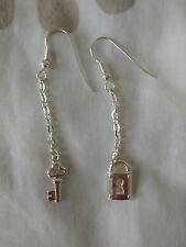 VINTAGE 00'S Silver Coloured Padlock & Key Drop Earrings Unisex ROCK/PUNK VGC