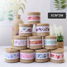 Eco-friendly 2m Volume Jute Burlap Ribbon Flower Print Wedding Christmas Decor