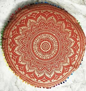 Mandala Indian Tapestry Round Small Floor Pouf Cushion Cover Ottoman Pillow