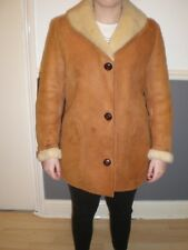 "womens vintage retro tan sheepskin coat length 31"""