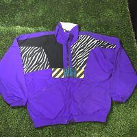 Vintage Skateboard Jacket Sport Essentials Men's Large 80s Zebra Print Purple