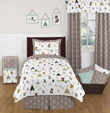 Sweet Jojo Designs Modern Blue Gray Fox Bear Kids Boys Bedroom Twin Bedding Set