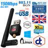 150Mbps 802.11n/g/b Mini USB Wifi Adapter wi-fi Network LAN Card w/Antenna NewUK