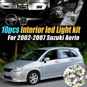10Pc Super White Car Interior LED Light Bulb Kit for 2002-2007 Suzuki Aerio