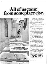 1977 Pan Am airlines old European street man walk vintage photo Print Ad ads16