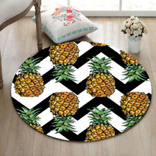 Tropical Pineapple Striped Yoga Mat Rugs Floor Bathmat Round Rug Non-slip CArpet