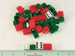 48 POPULAR BOARD GAME  PIECES- HOUSES, HOTELS & DICE
