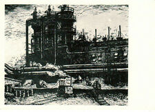 1959 Very  Rare Soviet CHINA ART postcard wood engraving GAS GENERATING STATION