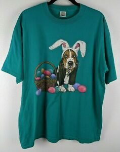 Vintage 90's Basset Hound Dog Easter T-Shirt Made In The USA Size XL Sportswear