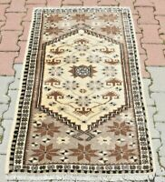 Traditional Hand Knotted Wool Carpet Turkish Vintage Oriental Brown Rug 2.5x4ft.