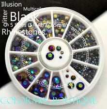 #B5 3D Multicolor Nail Art Decoration 5 Sizes Black illusion Glitter Rhinestone