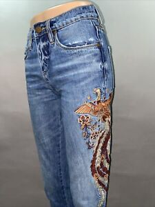 Blank NYC Embroidered Denim Jeans Peacock Feather Design size 24