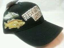 Black Fisherman's Cap Hat Embroidered Fish Adj Back New w/Tags Angler Freshwater