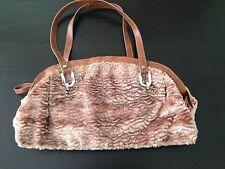 United Colors of Benetton Purse Handbag Tote Faux Fur Brown Silver