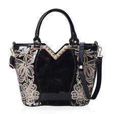 Black Faux Leather Handbag Purse Satchel Bag with Detachable Shoulder Strap