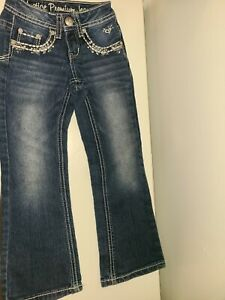 Justice Premium Jeans Navy Blue, Simply Low, Boot Cut, Silver Rhinestones Sz  6S