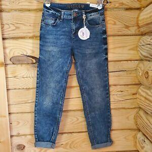 Justice Girl's Sz 14 Slim Blue Rinse Wash Distressed Girlfriend Denim Jeans NWT