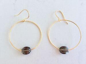 18K Gold on 925 Sterling Silver Hoop Earrings Gemstone Stone Smokey Smoky Quartz