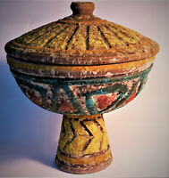 60s Italian Lava Pottery Pedestal Compote Bowl w/ Lid MCM Raymor Vintage Italy