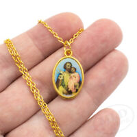 """Saint St Joseph Gold Plated Chi Rho Picture Medal Pendant Necklace 24"""" Chain"""
