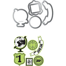 Sizzix Framelits Dies Stamps By Echo Park This & That; Charming W/Clear 5/Pkg