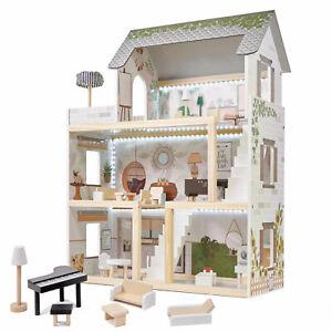 Großes Puppenhaus A92 XXL Traumhaus Set aus Holz mit LED Beleuchtung für Kinder