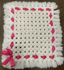 Hand Knitted Baby Car Seat Blanket Chunky Puff Pom Dolls Pram Coverlet New Gift