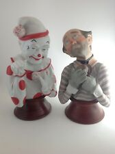 Vintage Porcelain Clowns 1984 Euc Rohn Great Expressions Hobo And Circus