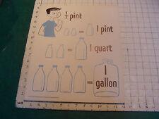 vintage 1950's Instructor kindergarden measure POSTER #4 PINT QUART GALLON