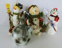 Lot of 3 Resin and 1 plastic Snowman figurines