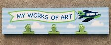 """My Works of Art!"" Painted Wood Homework Art Artwork Display Sign Blue for Boys"