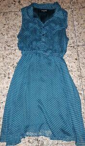 GIRLS Sz 12 blue & white DANGERFIELD polkadot dress CUTE!