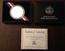 1991-D USO 50th Anniversary Silver Dollar, Unc.  With  Box & COA