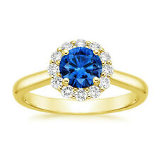 1.60 Ct Round Real Blue Sapphire Diamond Engagement Ring 14K Solid Yellow Gold