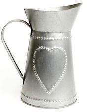 Shabby Chic Silver Tin Jug Vase Planter Rope Bow 25cm Tall Wedding