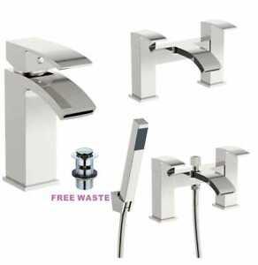 Waterfall Designer Bathroom Taps Basin Bath Mixer Filler Shower Tap Set Chrome