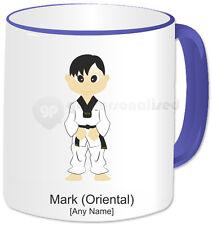Personalised Martial Arts Mug- Tae Kwon Do Boy- Blue Handle