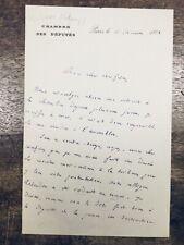 Henri Maret 1882 Rare Autographe Lettre Manuscrite Assemblée Nationale