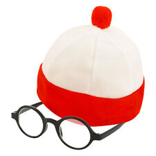 Kid's Large Red & White Striped Nerd Fancy Dress Hat & Glasses (WORLD BOOK DAY)